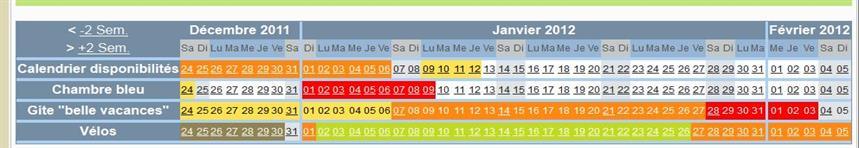 Calendrier Pour Location Saisonniere.Calendrier Disponibilite Marquage Des Dates En Couleur